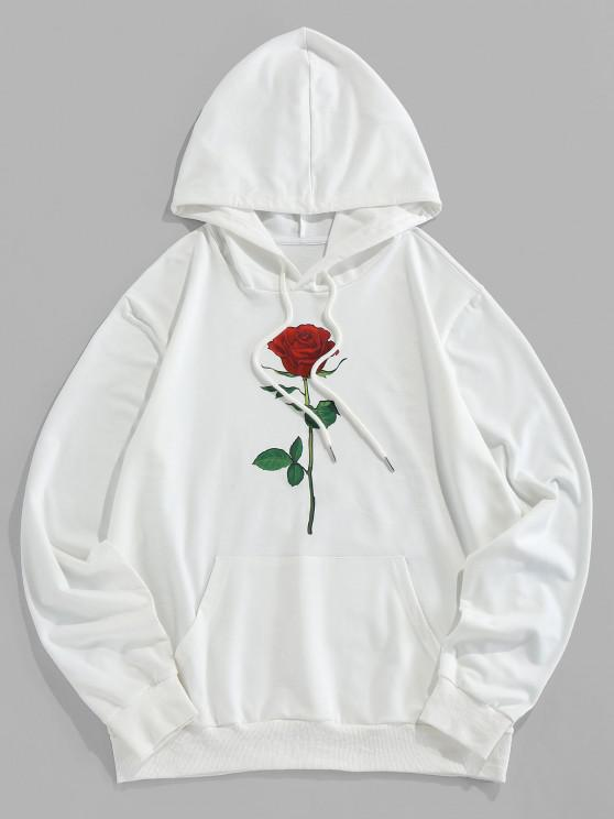 shops ZAFUL Rose Graphic Pouch Pocket Pullover Hoodie - WHITE 2XL