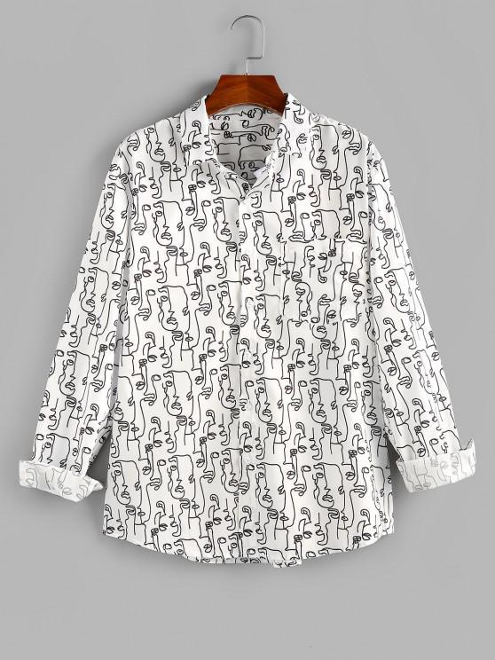 ZAFUL Abstract Face Print Pocket Button Up Shirt - أبيض S