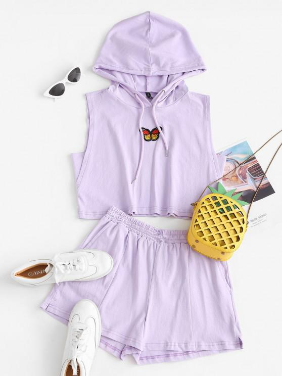 hot Lounge Drawstring Butterfly Patched Two Piece Set - LIGHT PURPLE L