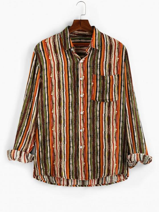 ZAFUL Vertical Striped Pocket Button Up High Low Shirt - متعدد XL