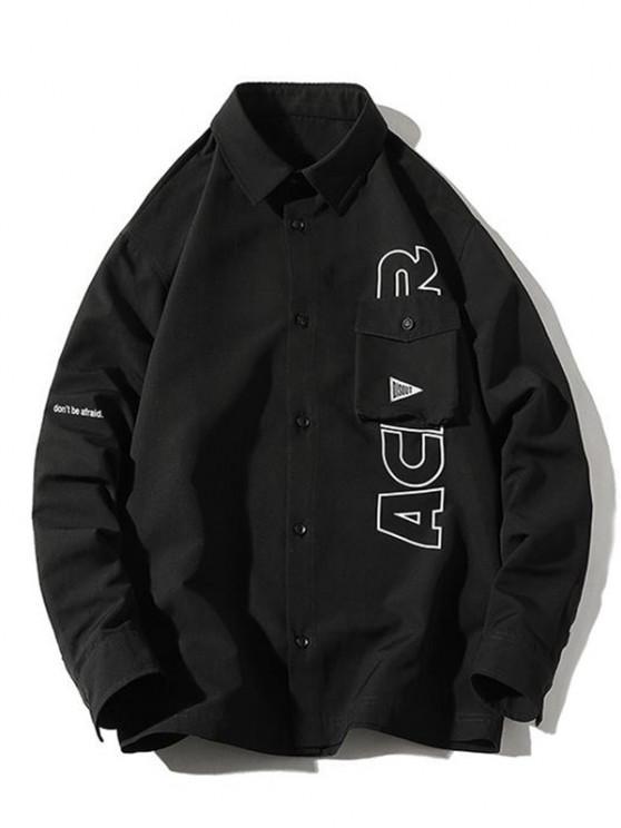 Letter Printed Flap Pocket Shirt Jacket - أسود 3XL