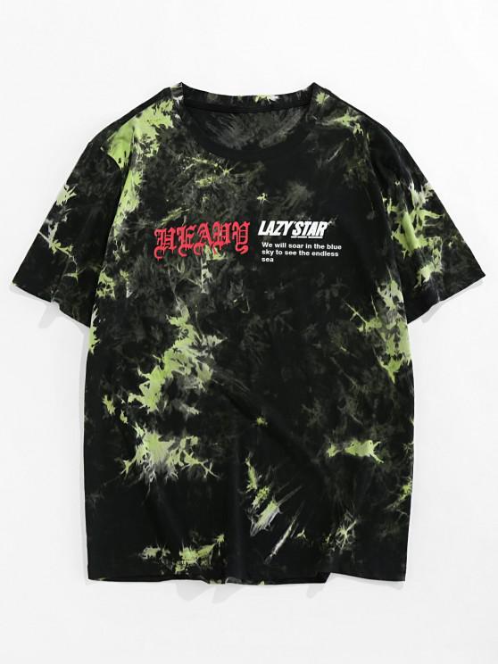 ZAFUL Tie Dye Print Short Sleeve Graphic T-shirt - أخضر 2XL