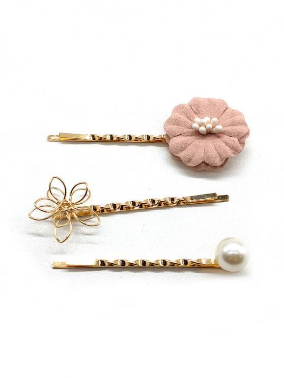 sale 3Pcs Floral Faux Pearl Hairpin Set - GOLDEN