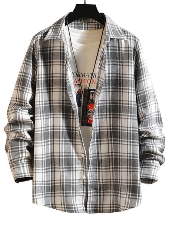 Plaid Button Down Long Sleeve Shirt - أبيض 2XL