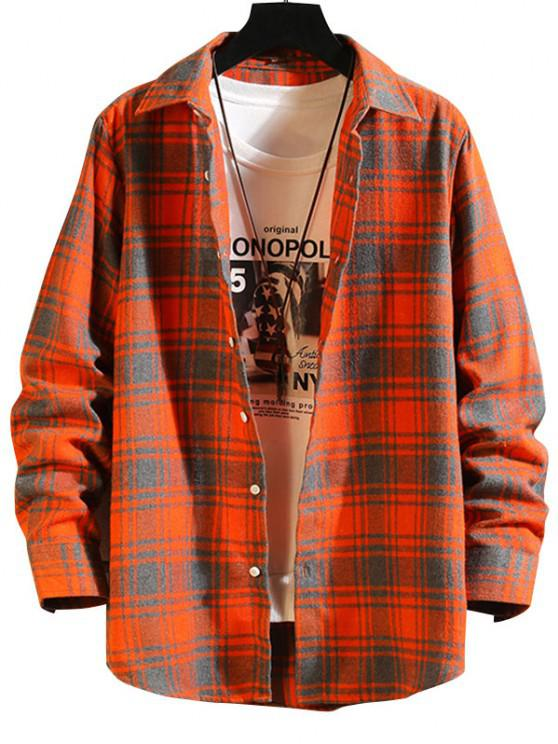 sale Plaid Button Down Long Sleeve Shirt - PUMPKIN ORANGE M