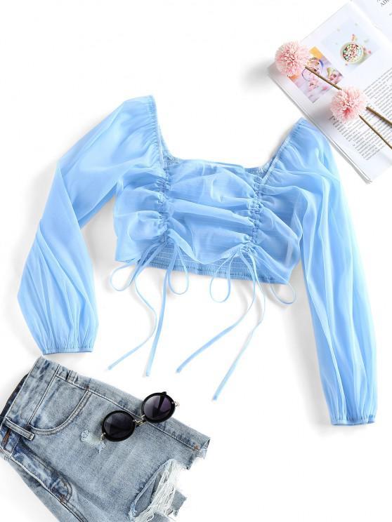 shop ZAFUL Cinched Smocked Back Crop Blouse - DAY SKY BLUE M