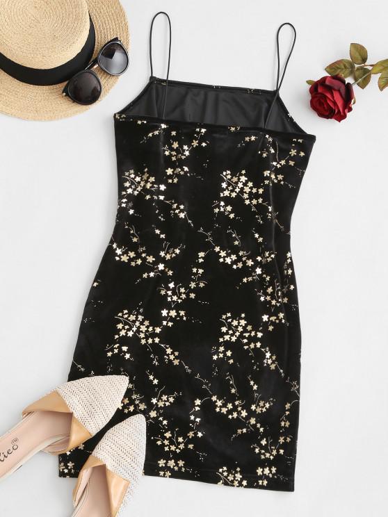 ZAFUL Velvet Sparkly Flower Bodycon Dress - Black S