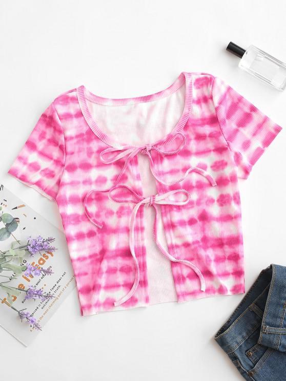 Camiseta running manga comprida estampa geometrica - Rosa Quente M