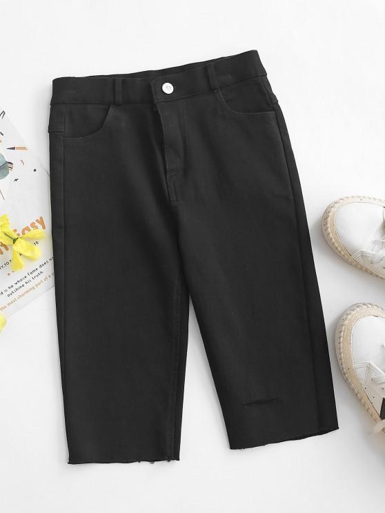 Ripped Frayed Hem Denim Bermuda Shorts - أسود L