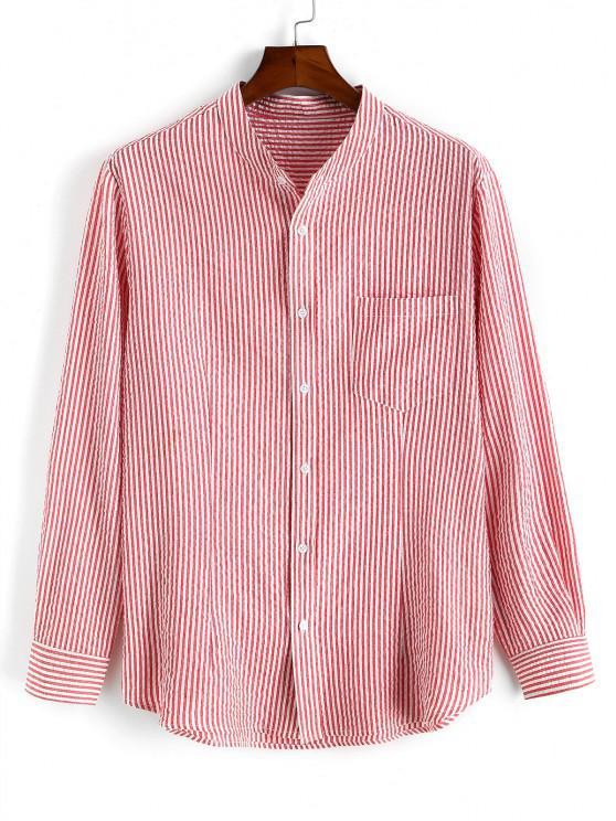 fashion Pocket Patch Stripes High Low Shirt - LIGHT PINK XL
