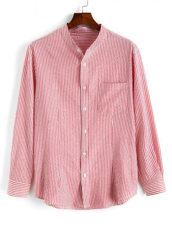 affordable Pocket Patch Stripes High Low Shirt - LIGHT PINK 2XL