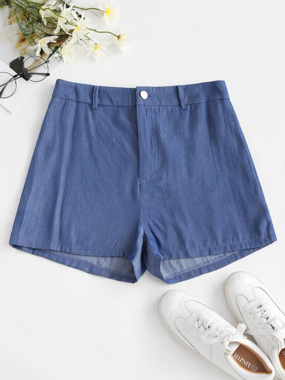 lady ZAFUL Chambray Sunflower Pocket Zip Fly Shorts - LIGHT BLUE M