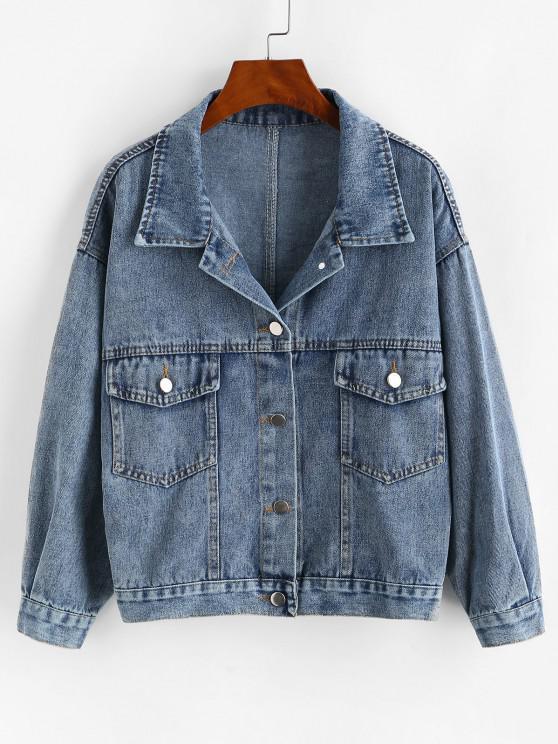 Jaqueta de ombro com Botões e Bolso de Ombro Caído - Azul Um Tamanho