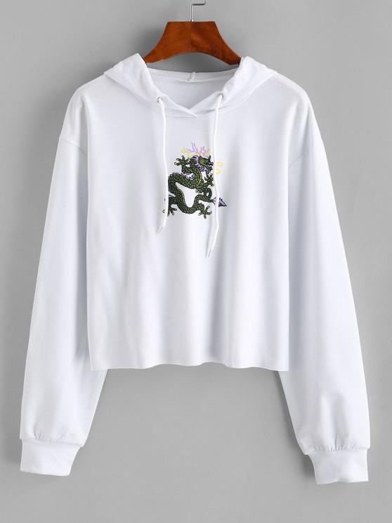 ladies Dragon Print Oriental Drop Shoulder Raw Hem Hoodie - WHITE S