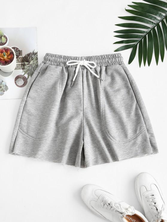 online Drawstring Pockets Frayed Hem Sweat Shorts - GRAY CLOUD ONE SIZE