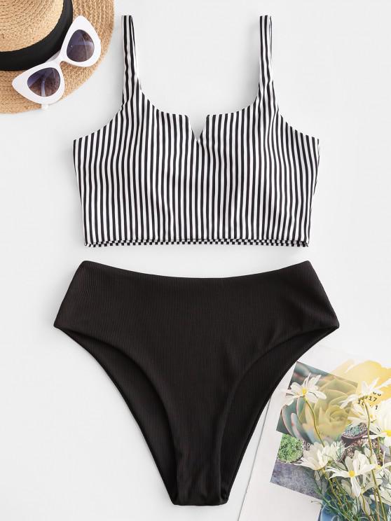 ZAFUL Ribbed Striped V Wired Tankini Swimwear - أسود M