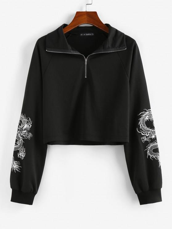 ZAFUL Oriental Dragon Embroidered Sweatshirt - أسود S