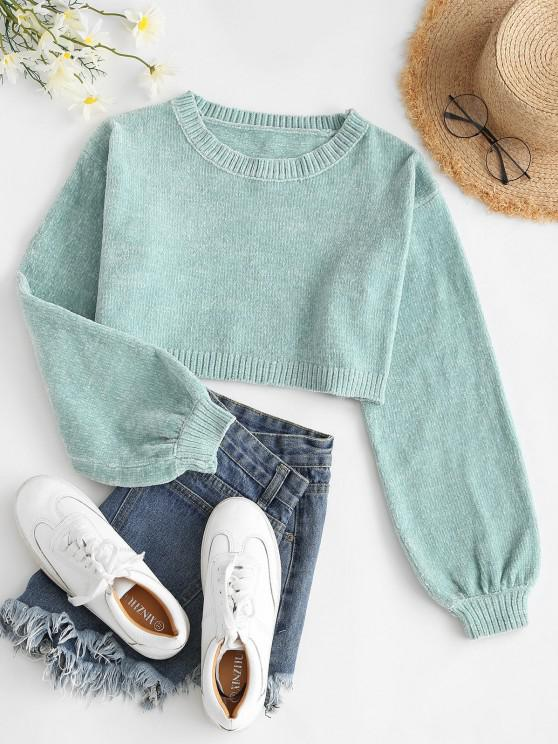 chic Chenille Drop Shoulder Lantern Sleeve Crop Sweater - LIGHT GREEN M