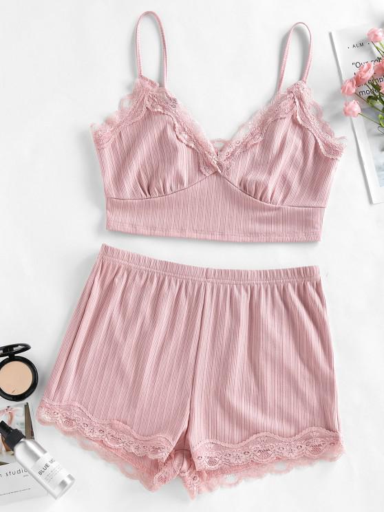 women's ZAFUL Lace Insert Ribbed Pajama Shorts Set - LIGHT PINK S