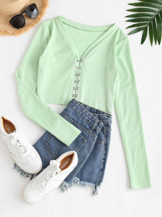 new Cropped Eye And Hook Ribbed Tee - LIGHT GREEN M