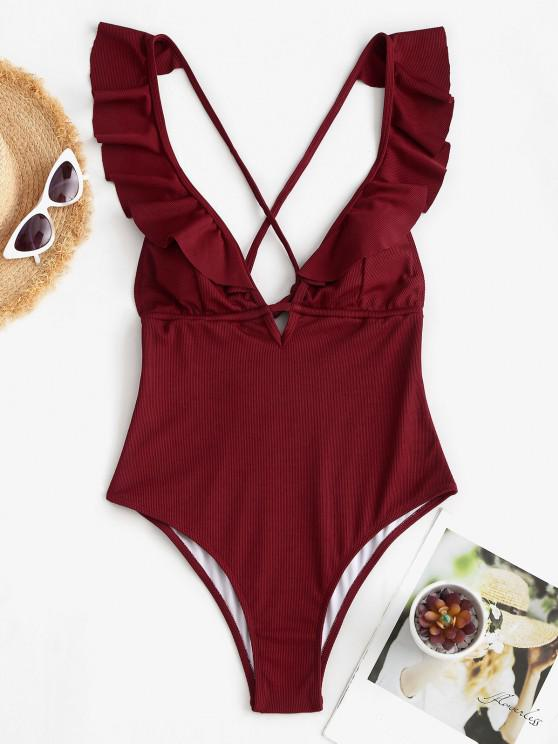 shops ZAFUL Ribbed Ruffle Criss Cross Backless One-piece Swimsuit - DEEP RED S