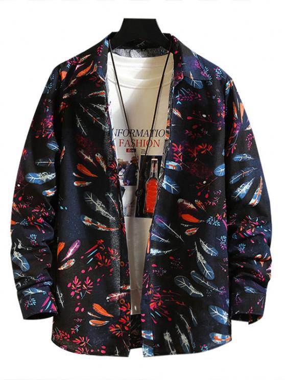 unique Feather Floral Print Button Down Shirt - MULTI-A 2XL