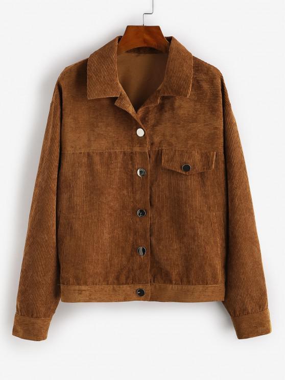 trendy ZAFUL Flap Pocket Corduroy Jacket - CHESTNUT S