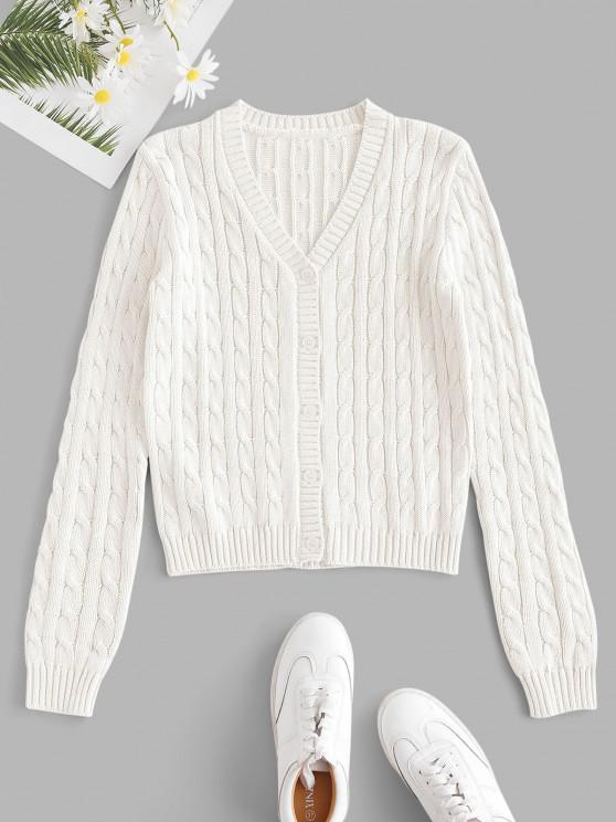 Plain Cable Knit Button Up Cardigan - كريم كريستال S