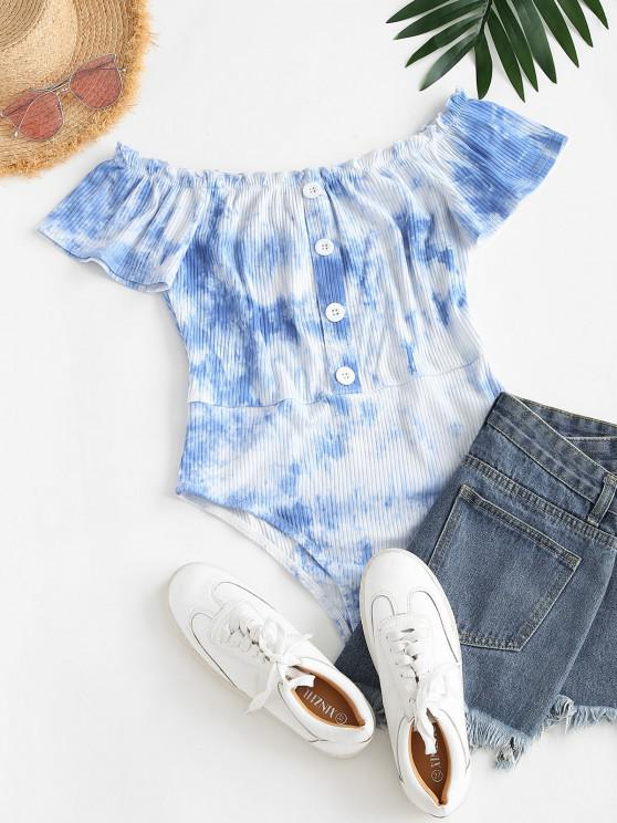 ZAFUL Tie Dye Ribbed Ruffle Mock Button Bodysuit - سماء الأزرق S