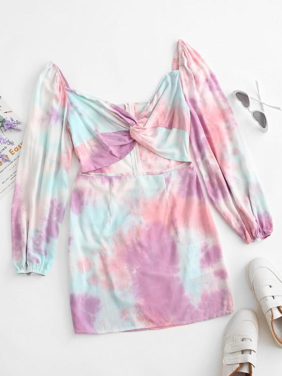fashion ZAFUL Tie Dye Cutout Bodycon Dress - MULTI-A M