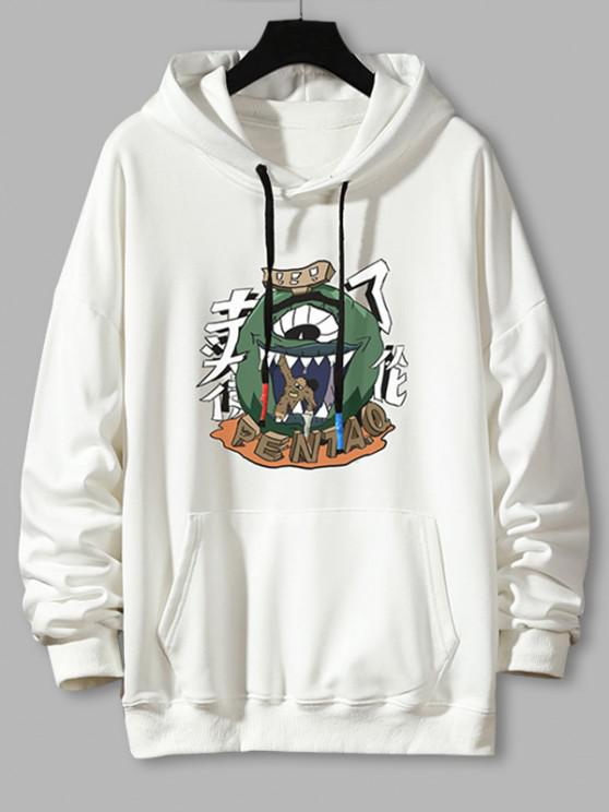 new Cartoon Monster Graphic Drop Shouler Casual Hoodie - WHITE 2XL