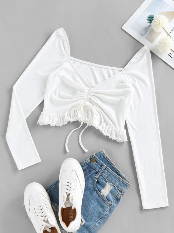 latest ZAFUL Cinched Flounce Crop T Shirt - MILK WHITE L