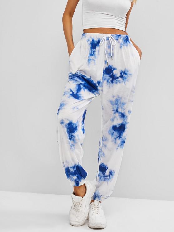 sale ZAFUL Tie Dye Pocket Drawstring Jogger Pants - DEEP BLUE XL