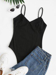Ribbed High Cut Cami Bodysuit - Black S
