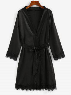 ZAFUL Robe Kimono Ceinturée à Ourlet En Dentelle - Noir S