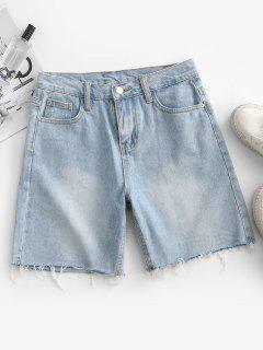 Frayed Hem Denim Bermuda Shorts - Blue Koi L