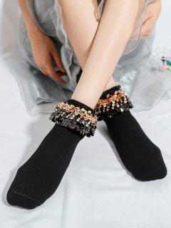 Sequined Lace Quarter Crew Socks - Black