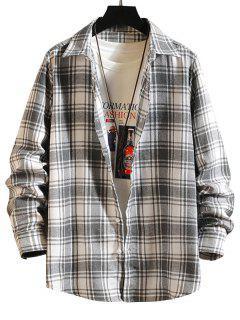 Plaid Button Down Long Sleeve Shirt - White L