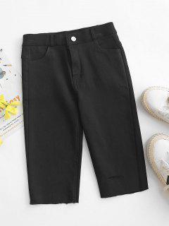 Ripped Frayed Hem Denim Bermuda Shorts - Black Xl