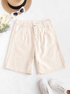 High Waisted Pocket Denim Bermuda Shorts - Light Yellow L