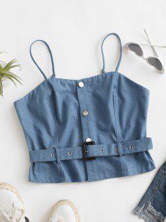 Denim Crop Belted Cami Top - Light Blue S
