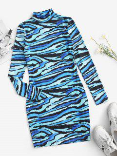 Swirling Printed Mock Neck Long Sleeve Dress - Blue Ivy S