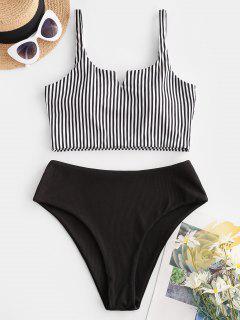 ZAFUL Ribbed Striped V Wired Tankini Swimwear - Black L