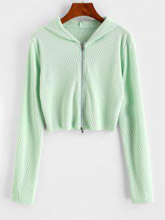 Ribbed Raw Hem Full Zip Hoodie - Light Green Xl