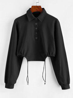 Half Button Toggle Drawstring Hem Cropped Sweatshirt - Black S