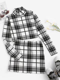 ZAFUL Plaid Mock Neck Two Piece Skirt Set - White M