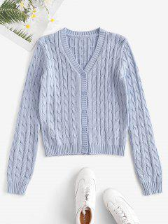 Plain Cable Knit Button Up Cardigan - Light Blue M
