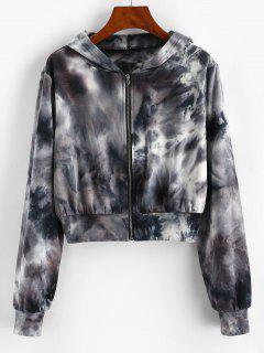 ZAFUL Tie Dye Zip Up Crop Hoodie - Black S