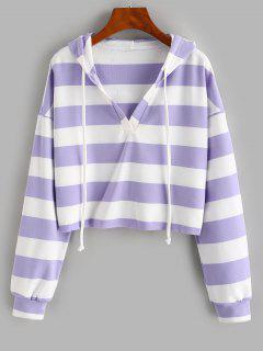 ZAFUL Colorblock Stripe Cropped Hoodie - Mauve L