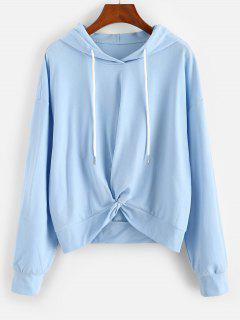 ZAFUL Twist Hem Drop Shoulder Drawstring Hoodie - Light Sky Blue L